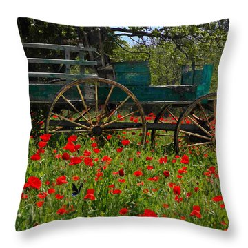 Red Poppies With Wagon Throw Pillow