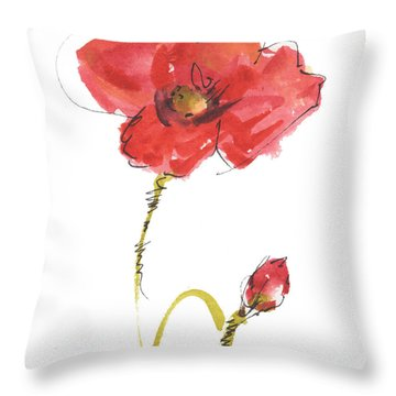 Red Poppy And Bud Throw Pillow