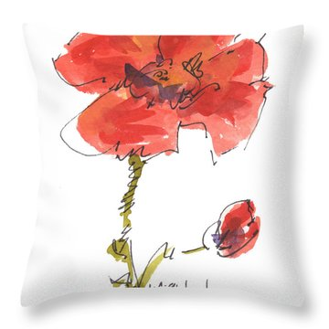 Red Poppy And Pal Throw Pillow by Kathleen McElwaine