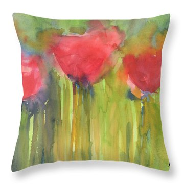 Red Poppy Elegance Throw Pillow