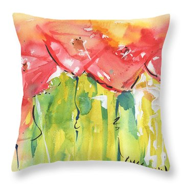 Red Poppy Party Throw Pillow by Kathleen McElwaine