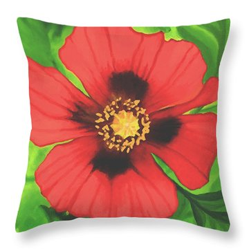 Throw Pillow featuring the painting Red Poppy by Sophia Schmierer