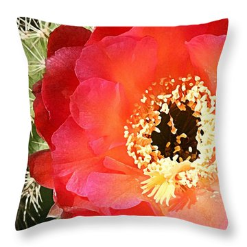 Red Prickly Pear Blossom Throw Pillow