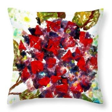 Red Purple Flower Throw Pillow by Joan Reese