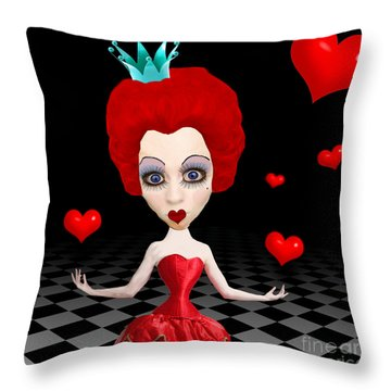 Red Queen Of Hearts Throw Pillow