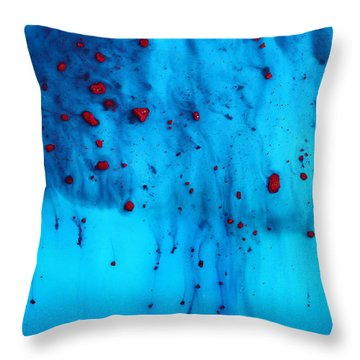 Red Rain By Kredart Throw Pillow