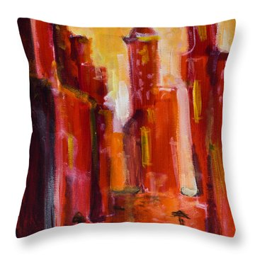 Red Rainy City Throw Pillow