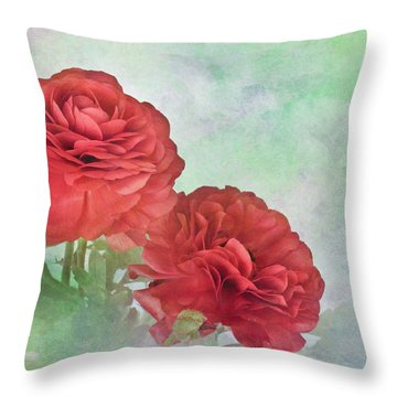 Red Ranunculus Throw Pillow by David and Carol Kelly