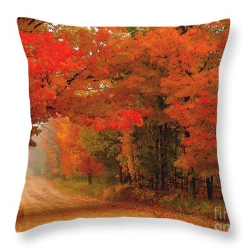 Red Red Autumn Throw Pillow by Terri Gostola