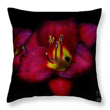 Red Red Lily Throw Pillow