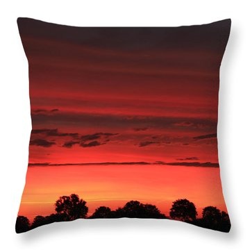 Red Red Sunrise Throw Pillow