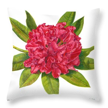 Red Rhododendron  Throw Pillow