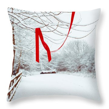 Red Ribbon In Tree Throw Pillow by Amanda Elwell