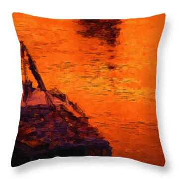 Red Rider Throw Pillow by Ayse Deniz