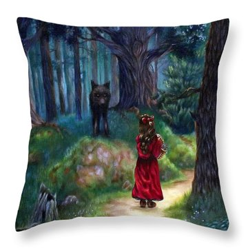 Red Riding Hood Throw Pillow by Heather Calderon