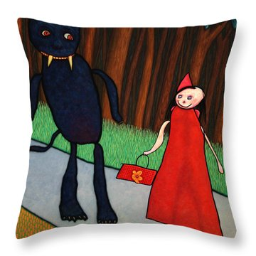 Red Ridinghood Throw Pillow