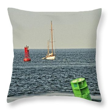Throw Pillow featuring the photograph Red Right Returning Buoy Sense by Constantine Gregory
