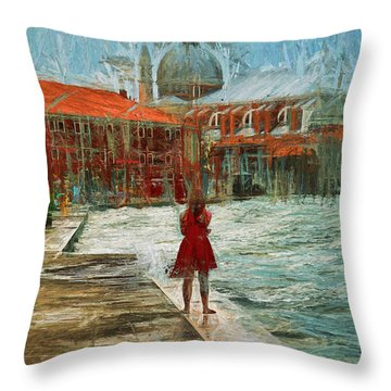 Red Robe At Redentore Throw Pillow