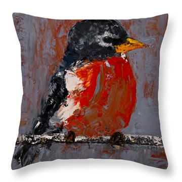 Throw Pillow featuring the painting Red Robin by Jani Freimann