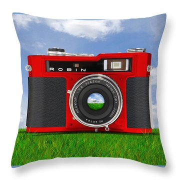 Red Robin Throw Pillow by Mike McGlothlen