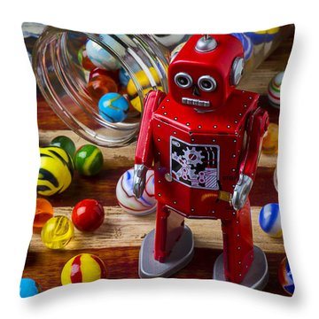 Red Robot And Marbles Throw Pillow by Garry Gay
