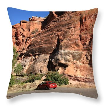 Red Rock And Red Car Throw Pillow by Frank Romeo