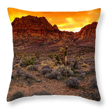 Red Rock Canyon Las Vegas Nevada Fenced Wonder Throw Pillow by Silvio Ligutti