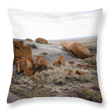 Red Rock Coulee II Throw Pillow by Leanna Lomanski