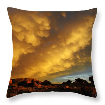 Red Rock Coulee Sunset Throw Pillow by Vivian Christopher
