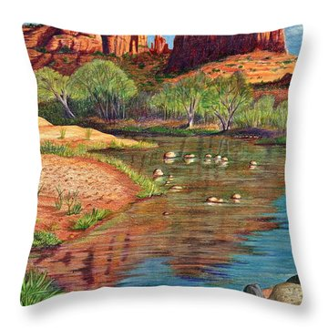 Red Rock Crossing-sedona Throw Pillow by Marilyn Smith