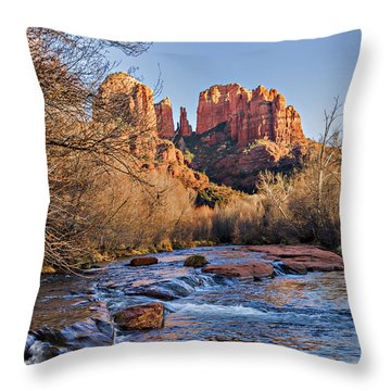 Red Rock Crossing Winter Throw Pillow by Mary Jo Allen