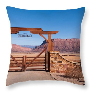 Red Rock Ranch Throw Pillow by Bob and Nancy Kendrick