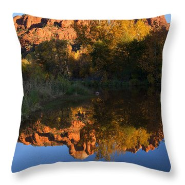 Red Rock Reflections Throw Pillow by Mike  Dawson