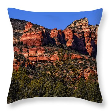 Red Rock Sentinels Throw Pillow