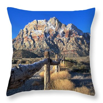 Throw Pillow featuring the photograph Red Rock Snow by Alan Socolik