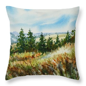 Red Rock View Road Throw Pillow