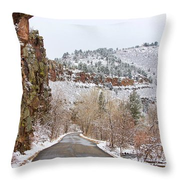 Red Rock Winter Drive Throw Pillow by James BO  Insogna