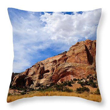 Red Rocks Throw Pillow by Donald Fink