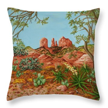 Throw Pillow featuring the painting Landscapes Desert Red Rocks Of Sedona Arizona by Katherine Young-Beck