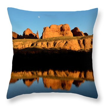 Red Rock Reflection In The Colorado River Throw Pillow