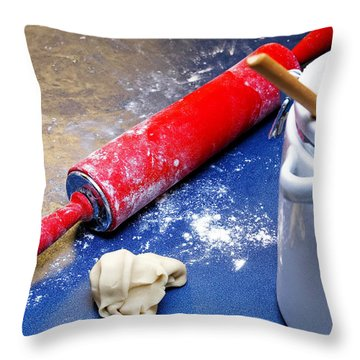 Red Rolling Pin Throw Pillow