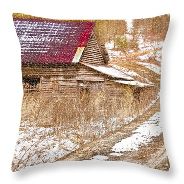 Red Roof In The Snow  Throw Pillow by Debra and Dave Vanderlaan
