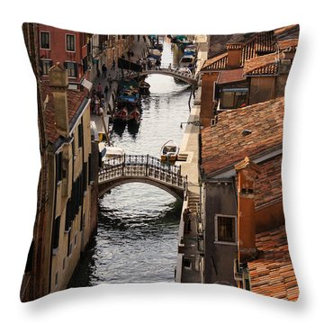 Red Roofs Of Venice Throw Pillow