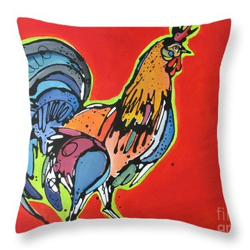 Throw Pillow featuring the painting Red Rooster by Nicole Gaitan