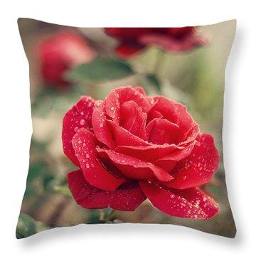 Wet Rose Throw Pillows