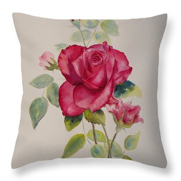 Throw Pillow featuring the painting Red Rose by Beatrice Cloake
