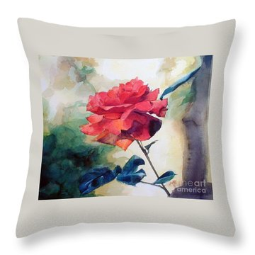 Watercolor Of A Single Red Rose On A Branch Throw Pillow