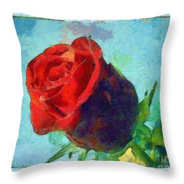 Red Rose On Blue Throw Pillow by Dana Hermanova