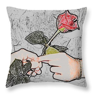 Red Rose Sketch By Jan Marvin Studios Throw Pillow