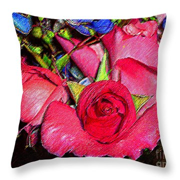 Throw Pillow featuring the photograph Red Roses And Blue ... by Merton Allen